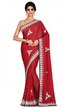 Embroidered Chiffon Jacquard Saree in Red