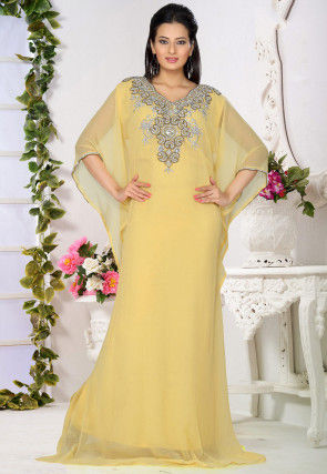 Embroidered Chiffon Kaftan in Light Yellow