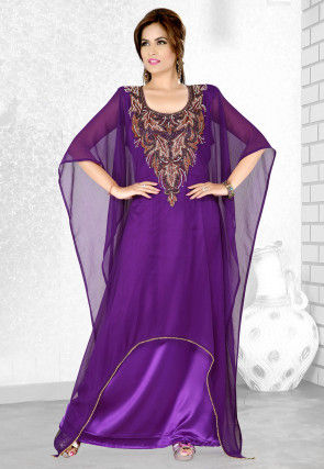 Embroidered Chiffon Kaftan in Purple