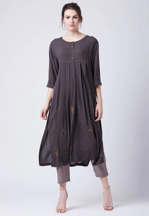 Embroidered Chiffon Kurta with Pant in Dark Grey