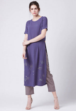 Embroidered Chiffon Kurta with Pant in Indigo Blue