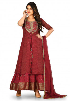 Embroidered Chiffon Layered Abaya Style Suit in Maroon