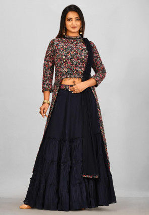 Embroidered Chiffon Lehenga in Navy Blue and Multicolor