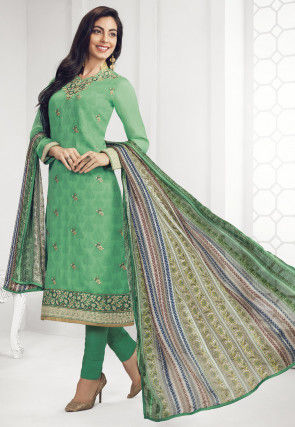 Embroidered Chiffon Pakistani Suit in Light Green
