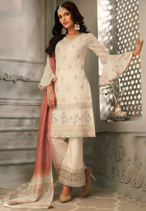 Embroidered Chiffon Pakistani Suit in Off White