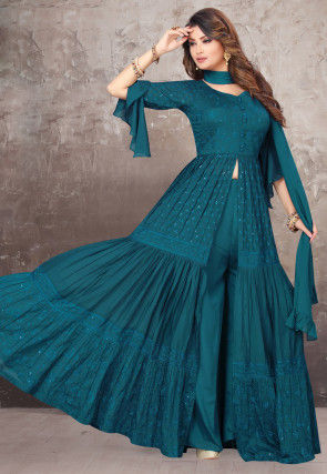Embroidered Chiffon Pakistani Suit in Teal Blue