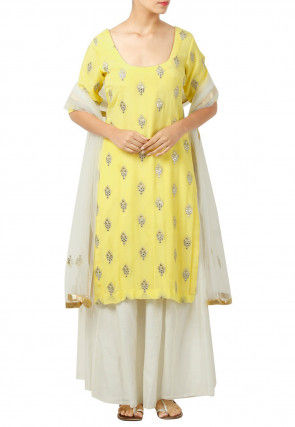 Embroidered Chiffon Pakistani Suit in Yellow