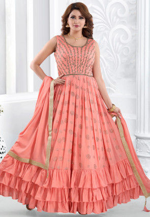 Embroidered Chiffon Ruffled Abaya Style Suit in Peach