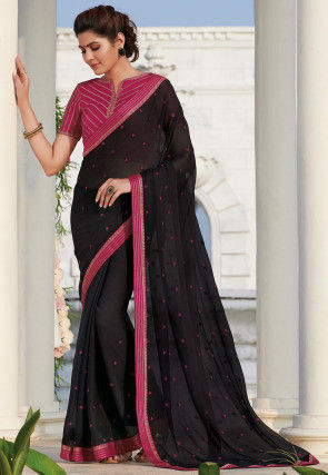Embroidered Chiffon Saree in Black
