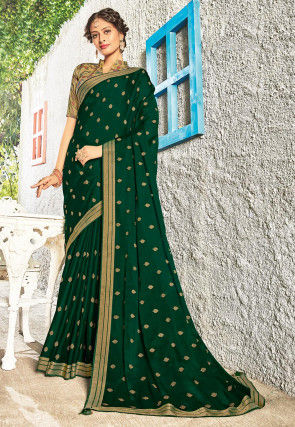 Embroidered Chiffon Saree in Dark Green