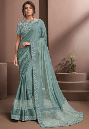 Embroidered Chiffon Saree in Dusty Green
