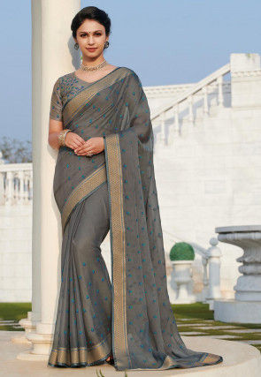 Embroidered Chiffon Saree in Grey