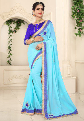 Embroidered Chiffon Saree in Light Blue