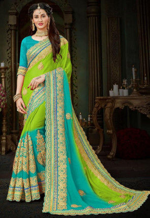 Embroidered Chiffon Saree in Light Green and Turquoise