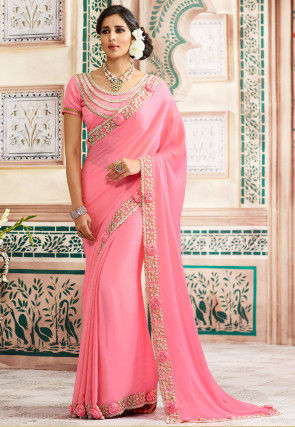 Embroidered Chiffon Saree in Light Pink