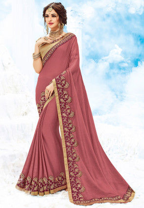 Embroidered Chiffon Saree in Old Rose