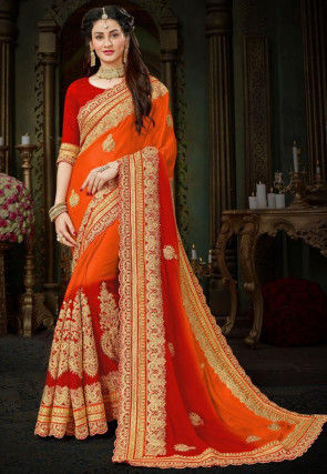 Embroidered Chiffon Saree in Orange and Red