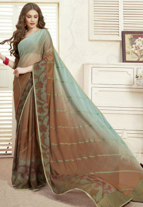 Embroidered Chiffon Saree in Shaded Brown and Sea Green