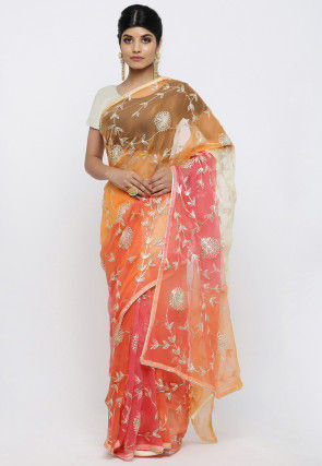 Embroidered Chiffon Saree in Shaded Orange and Peach