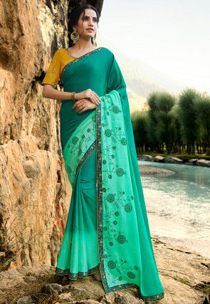 Embroidered Chiffon Saree in Shaded Teal Green