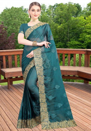 Embroidered Chiffon Saree in Teal Blue