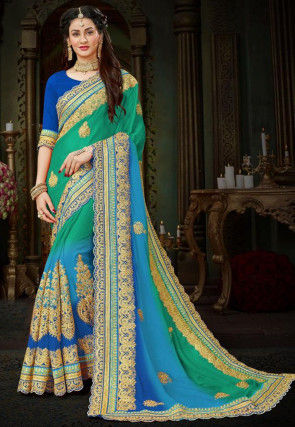 Embroidered Chiffon Saree in Teal Green and Blue