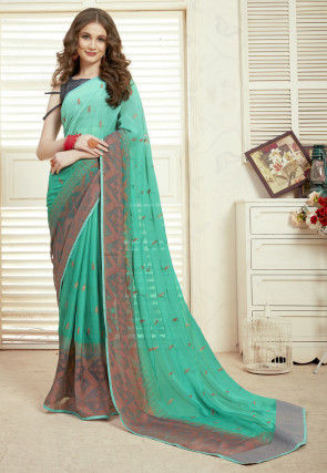 Embroidered Chiffon Saree in Teal Green Ombre