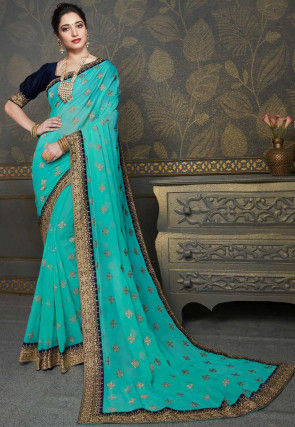 Embroidered Chiffon Saree in Turquoise