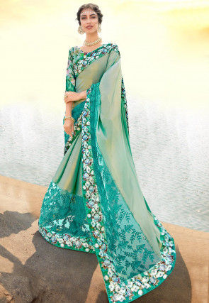 Embroidered Chiffon Shimmer Saree in Dusty Green