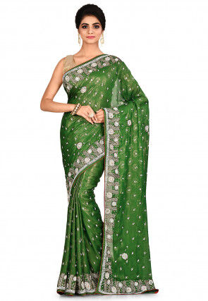 Embroidered Chiffon Shimmer Saree in Green