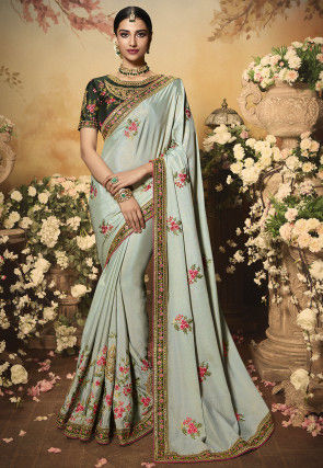 Embroidered Chiffon Shimmer Saree in Light Grey