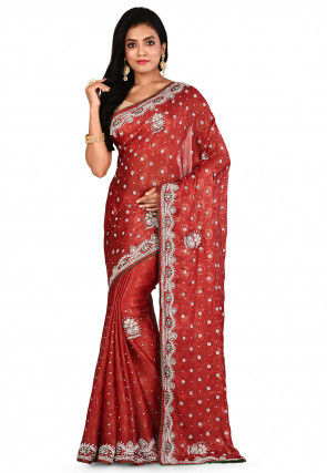 Embroidered Chiffon Shimmer Saree in Red