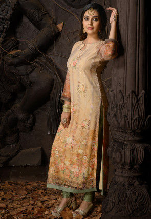 Embroidered Chiffon Straight Kurta in Beige and Brown