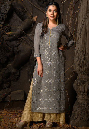 Embroidered Chiffon Straight Kurta in Dark Grey