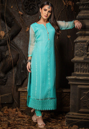 Embroidered Chiffon Straight Kurta in Turquoise