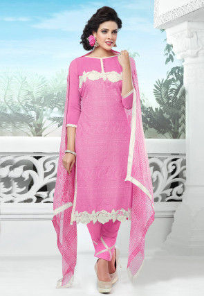 Embroidered Chiffon Straight Suit In Pink