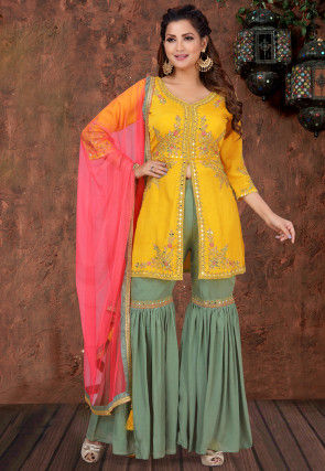 Embroidered Chinnon Chiffon Pakistani Suit in Mustard