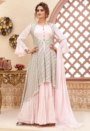 Embroidered Chinon Chiffon Abaya Style Suit in Baby Pink
