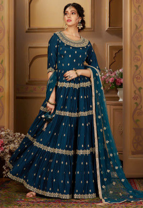 Embroidered Chinon Chiffon Abaya Style Suit in Dark Teal Blue
