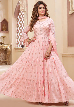 Embroidered Chinon Chiffon Abaya Style Suit in Light Pink