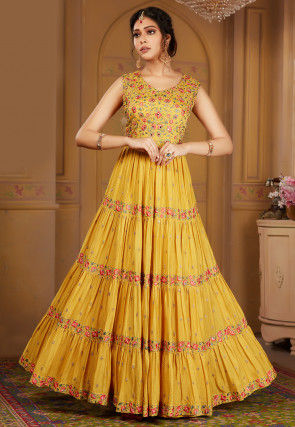 Embroidered Chinon Chiffon Abaya Style Suit in Mustard