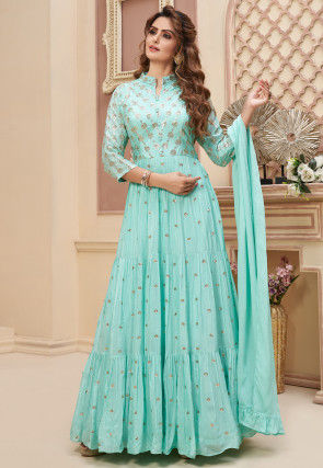 Embroidered Chinon Chiffon Abaya Style Suit in Turquoise