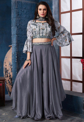 Embroidered Chinon Chiffon Crop Top in Grey