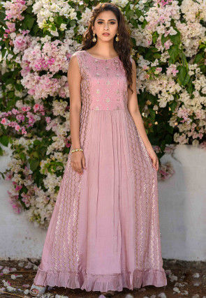 Embroidered Chinon Chiffon Flared Gown in Pink