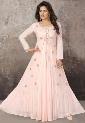 Embroidered Chinon Chiffon Jacket Style Gown in Baby Pink