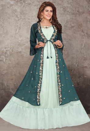 Embroidered Chinon Chiffon Jacket Style Gown in Green
