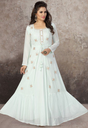 Embroidered Chinon Chiffon Jacket Style Gown in Off White