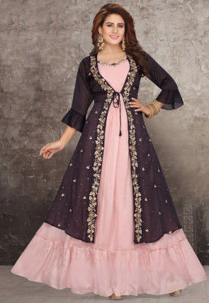 Embroidered Chinon Chiffon Jacket Style Gown in Pink and Black