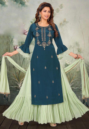 Embroidered Chinon Chiffon Lehenga in Blue and Green