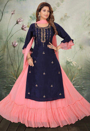 Embroidered Chinon Chiffon Lehenga in Blue and Pink